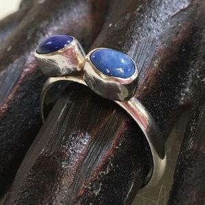 Vintage Sterling Silver Modern Lapis 2-Stone Ring